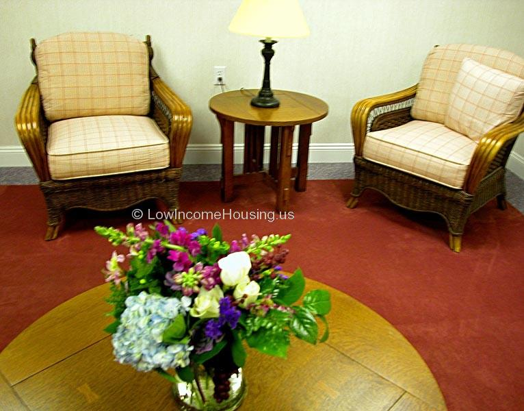 Twin comfortable stuffed arm chairs, lighting and floral decoration.
