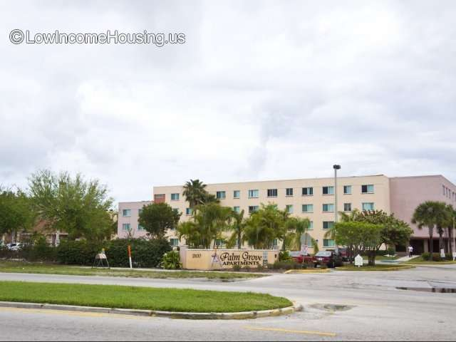 Palm Grove Senior Living Apartment building with view to 12 apartment per floor with convenient street parking.