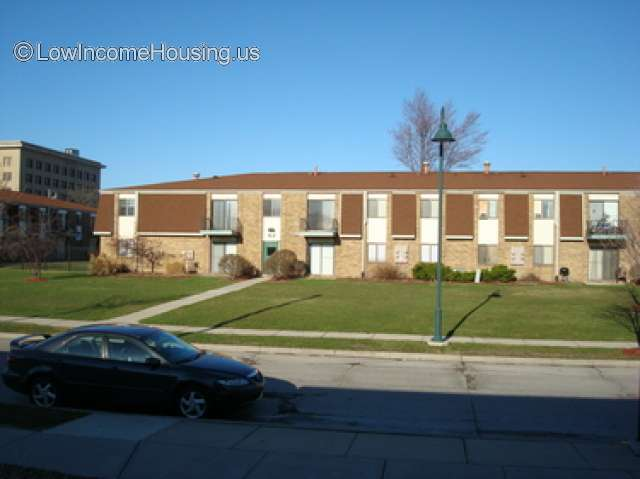 Spacious two story row houses situated on red brick construction.
