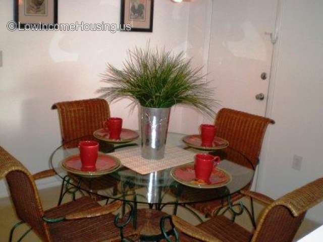 Indoor picture of apartment with a  glass dinner table set with four places. A decorative plant sits in the center of the table and two picture frames on the wall behind.